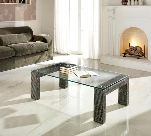 Duzzle tavolinetto millerighe stones in vetro e pietra grigia