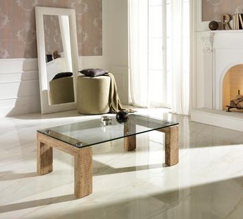 Duzzle tavolo a millerighe stones in vetro e pietra marrone