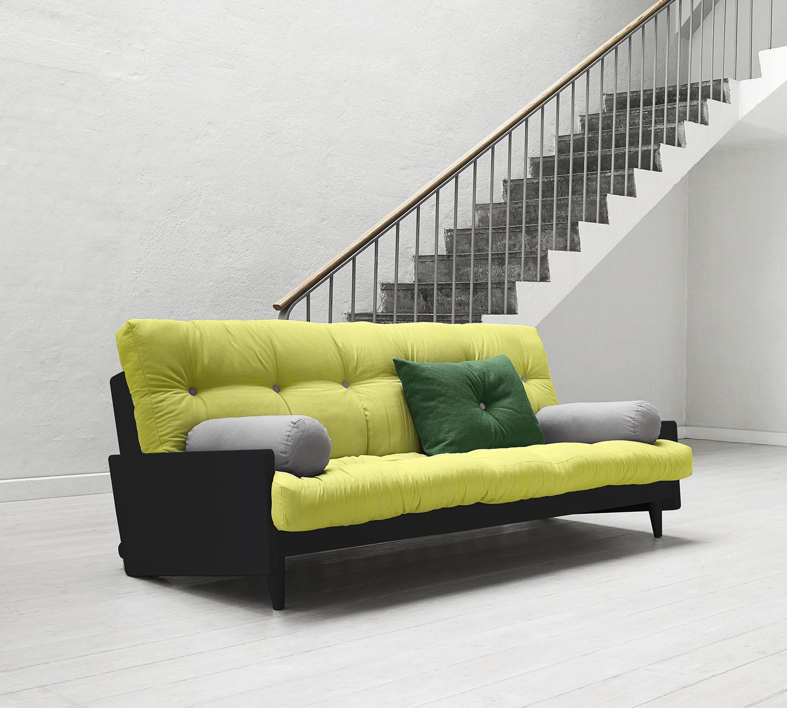 Divano letto indie di karup pistacchio con struttura nera for Struttura letto divano