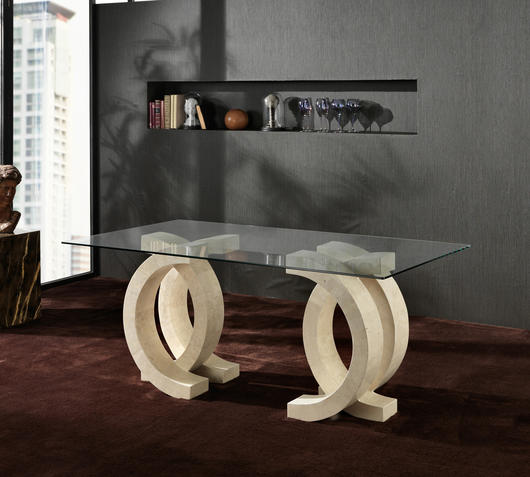 Duzzle tavolo b stones olimpia pietra bianca e vetro