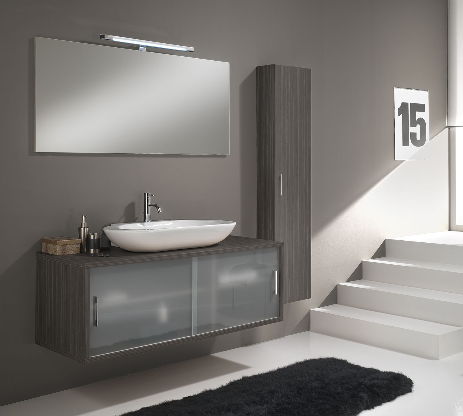 Arredo bagno giava 06 pino grigio cm 130 duzzle - Mobili per lavabo bagno ...