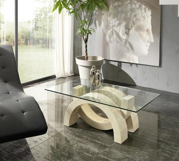 Duzzle tavolino olimpia stones vetro e pietra bianca