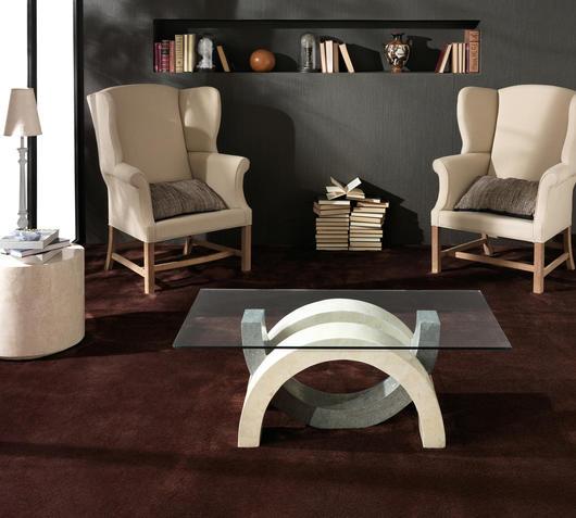 Duzzle tavolinetto stones olimpia vetro e pietra bianca e grigia