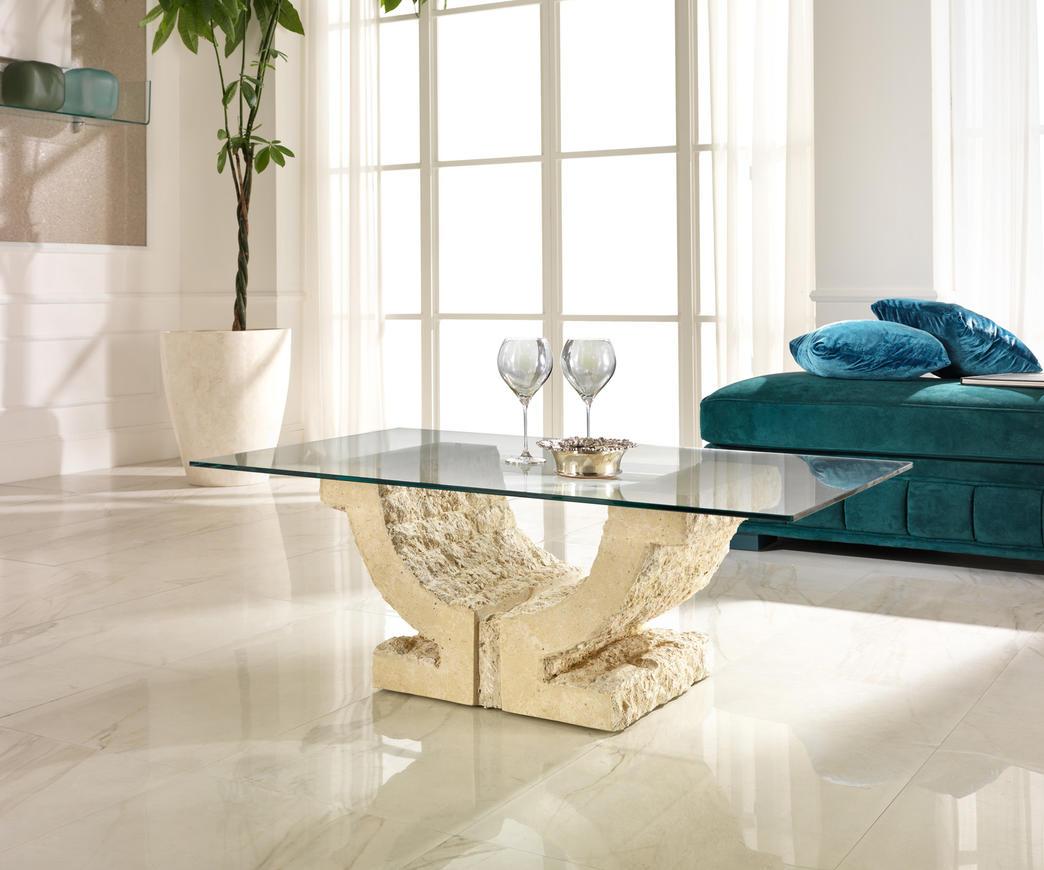 Tavoli In Pietra E Cristallo.Tavolino Da Salotto Omega In Pietra Fossile Ebay