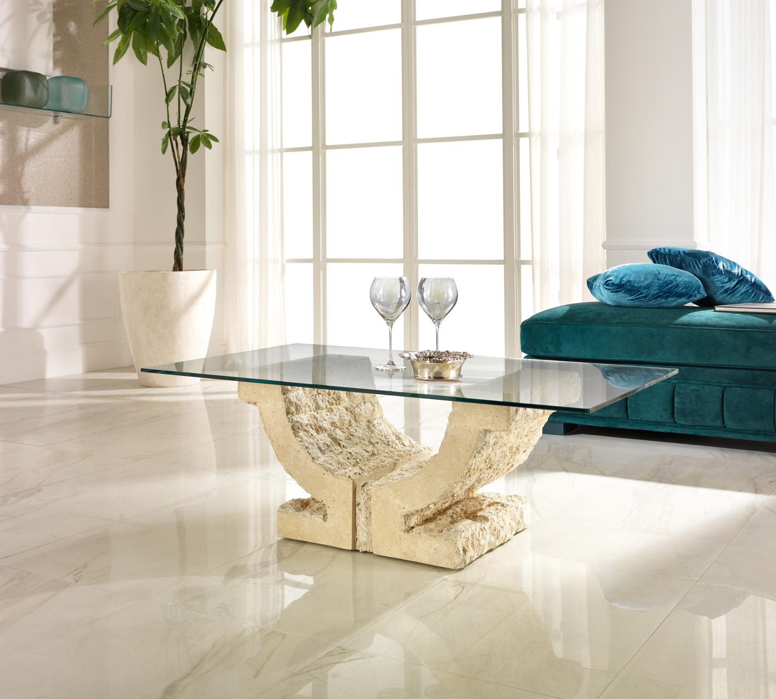 Tavolino da salotto omega in pietra bianca duzzle for Tavolini vetro
