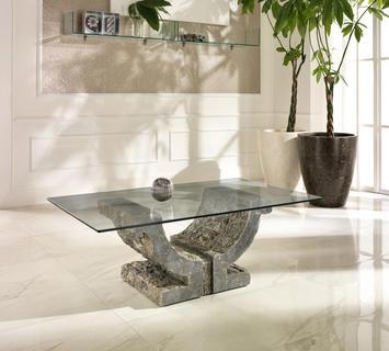 Duzzle tavolino stones omega pietra grigia e vetro salotto