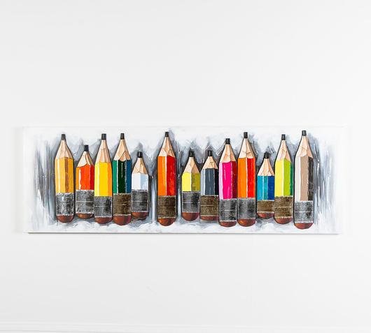 Duzzle quadro olio tela matite colorate