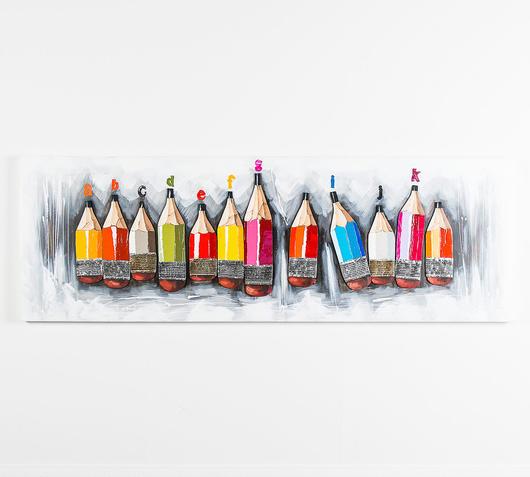 Duzzle quadro olio tela matite colorate stones