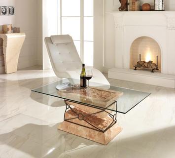 Duzzle tavolino parnaso stones pietra salmone e vetro salotto