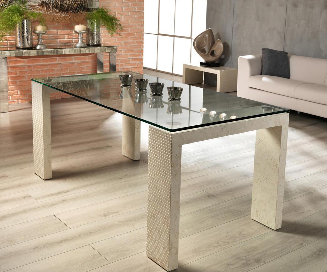 Tavolo Millerighe in pietra bianca, top 200 cm FS/016/WA/B | Duzzle