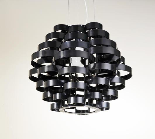 Duzzle lampada sospensione intagliata nero stones illuminazione