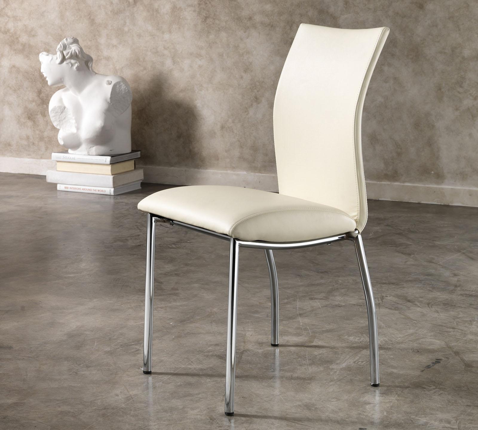Sedia in ecopelle Adele bianca OM/208/BI | Duzzle