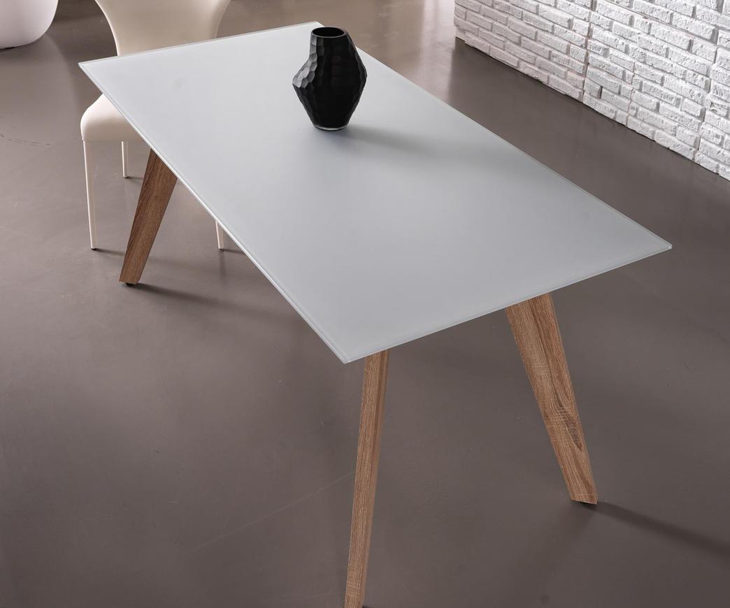 Tavolo Dafne con Top in vetro bianco acidato   Duzzle