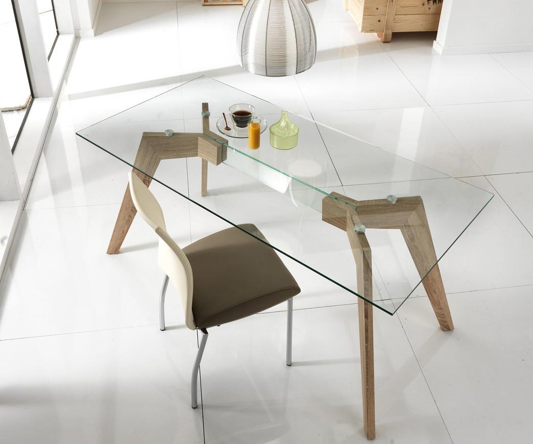 Tavolo dafne con top in vetro trasparente duzzle - Tavolo trasparente allungabile ...
