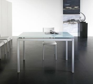 Duzzle tavolo da pranzo hacker vetro bianco stones fronte