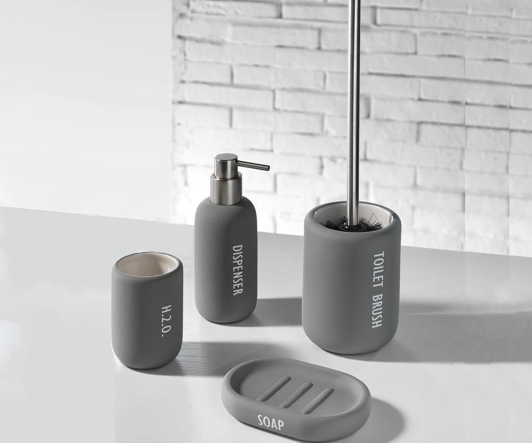 Portasapone Bagno In Ceramica.Set Accessori Bagno Tft Cod 1010 Ru Gray