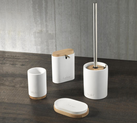 Duzzle set accessori bagno poliresina bianca bamboo bagno tft