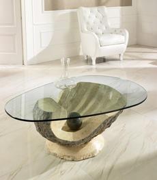 Tavolini da salotto in pietra fossile e cristallo duzzle for Tavolini cristallo