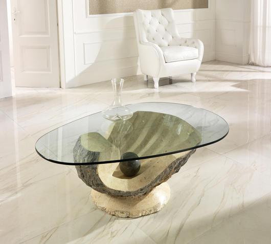 Duzzle tavolino venere stones pietra bianca e grigia con vetro