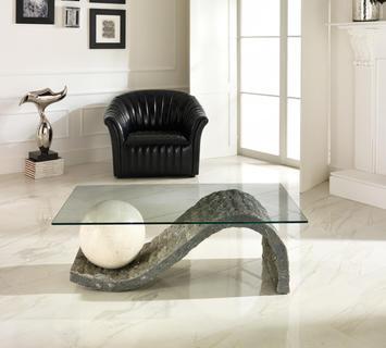 Duzzle tavolino onda stones in vetro e pietra bianca e grigia