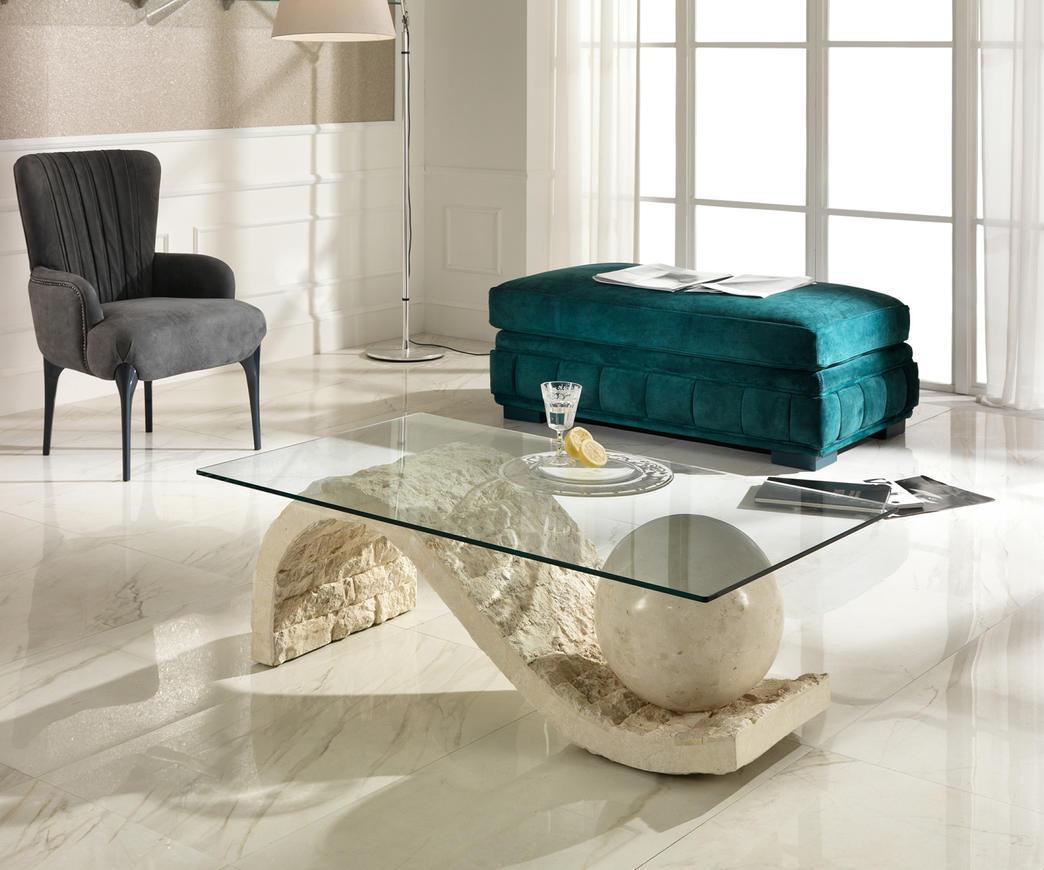 Tavolini Da Salotto In Pietra E Vetro.Dettagli Su Tavolino Da Salotto Onda In Pietra Fossile
