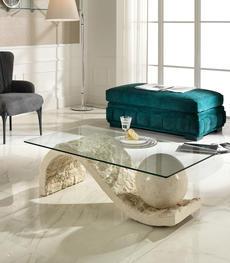 Tavolini da salotto in pietra fossile e cristallo | Duzzle