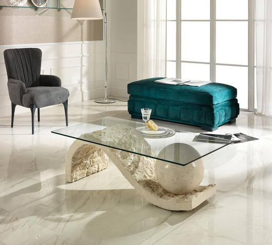 Duzzle tavolino onda stones in vetro e pietra bianca salotto