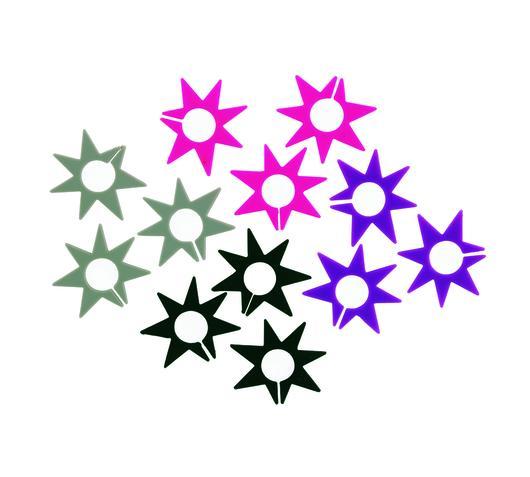 Duzzle segna bicchieri segnaposto silicone stella colori assortiti