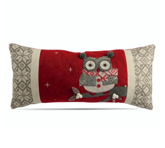 Duzzle gufo cuscino imbottito natale rosso grigio