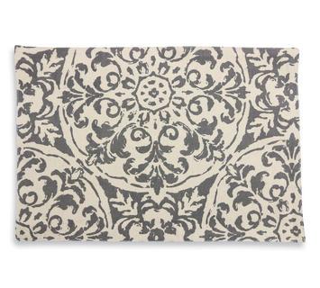 Duzzle tovaglietta lino crema grigio colazione tavola