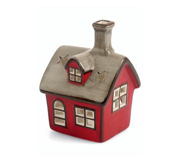 Duzzle casetta casa piccola rossa porta candela natale decorazione