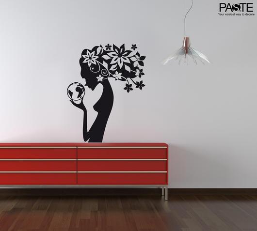 Duzzle sticker da muro woman and flowers