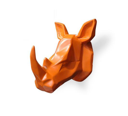 Duzzle stones stone  decor oggettistica rinoceronte arancione