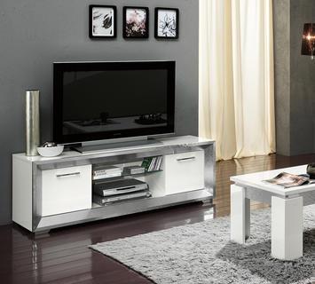 Duzzle porta tv mobile bianco argento amb