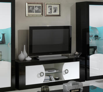 Duzzle porta tv  2 ante vano giorno bianco nero amb
