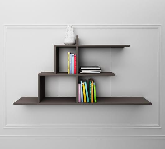 Duzzle mensola melaminico grigia design twist librerie fronte