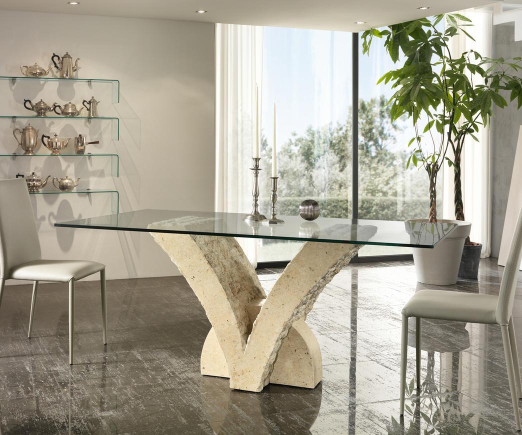 Tavolo Cristallo E Pietra.Tavolo Papillon In Pietra Bianca Top 200 Cm Fs 022 M B