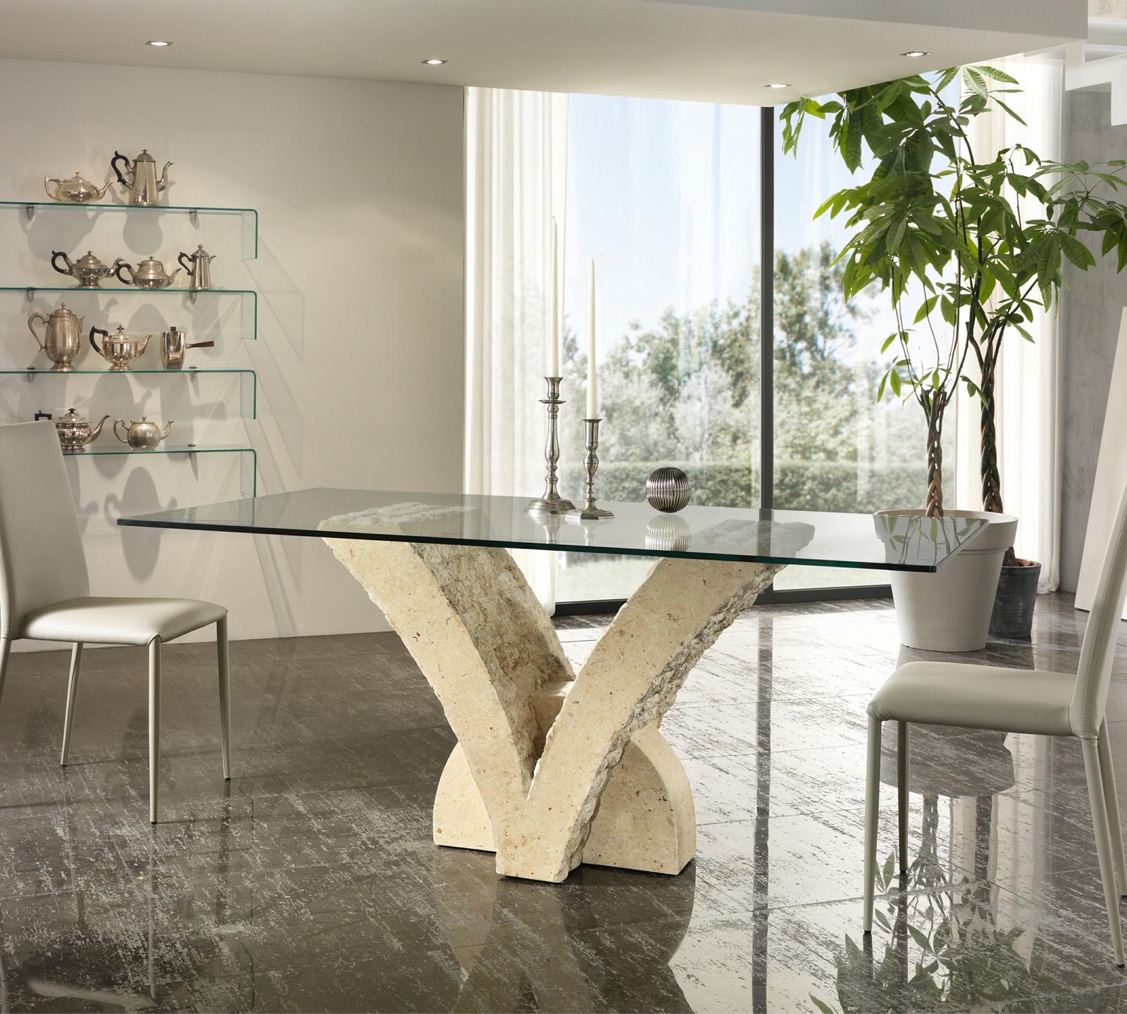 Tavolo papillon in pietra bianca top 200 cm duzzle for Tavoli in cristallo