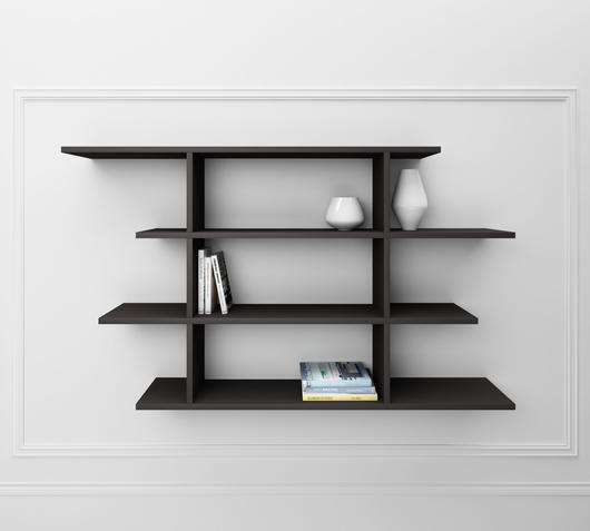 Duzzle mensole in legno melaminico grigio design twist librerie fronte