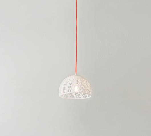 Duzzle sospensione trama 1 in es artdesign lana resina bianco arancione