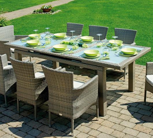 Duzzle greenwood moia tavolo allungabile wicker alluminio vetro rtw82