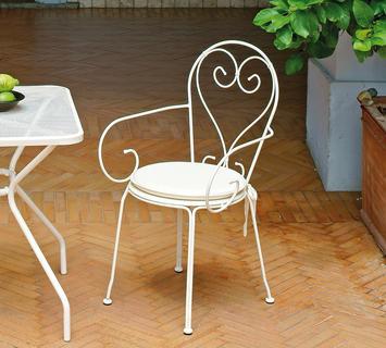 Duzzle greenwood sirmione sedia con braccioli impilabile ferro avorio chf81 moia 1