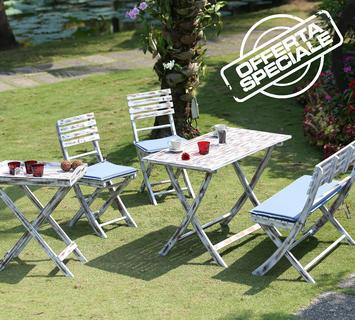 Duzzle set giardino tavolinetto sedie panca vassoio offerta