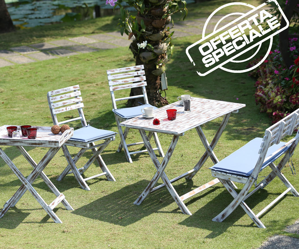 Set da giardino vienna bianco in legno di acacia duzzle for Set birreria offerta