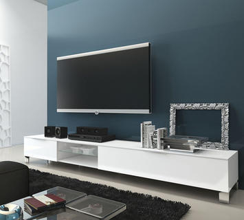 Duzzle porta tv obelix laccato bianco lucido flow fusion design