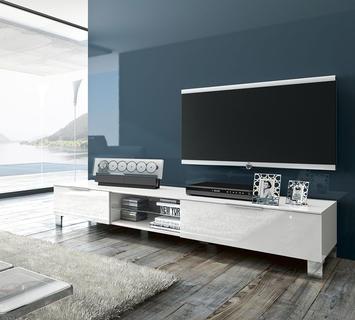 Duzzle porta tv asterix laccato bianco lucido flow fusion design