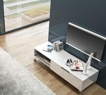 Duzzle porta tv idefix laccato bianco lucido flow fusion design
