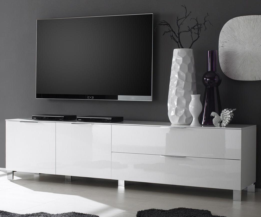 Porta Tv Bianco Lucido.Porta Tv Ares In Legno Laccato Bianco Lucido