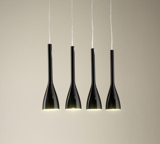 Duzzle lampada sospensione nera stones illuminazione accesa