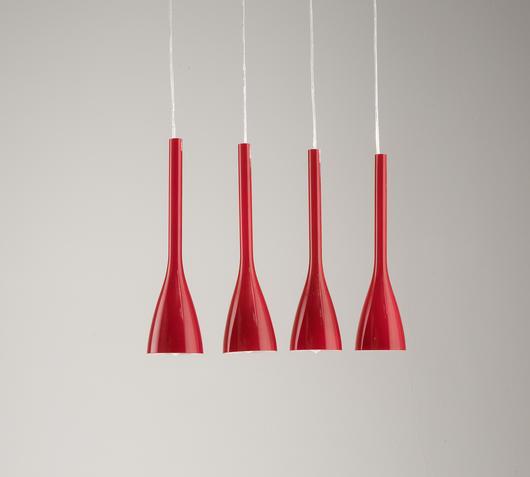 Duzzle lampada sospensione rossa stones illuminazione spenta
